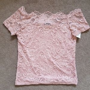 Tops - Blush lace off the shoulder top